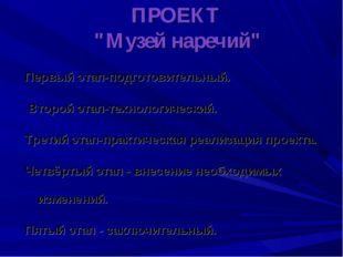"""ПРОЕКТ """"Музей наречий"""" Первый этап-подготовительный. Второй этап-технологичес"""