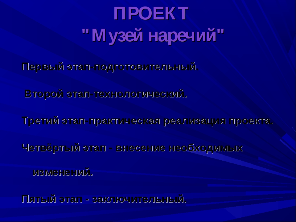"""ПРОЕКТ """"Музей наречий"""" Первый этап-подготовительный. Второй этап-технологичес..."""