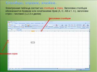 Электронная таблица состоит из столбцов и строк. Заголовки столбцов обозначаю