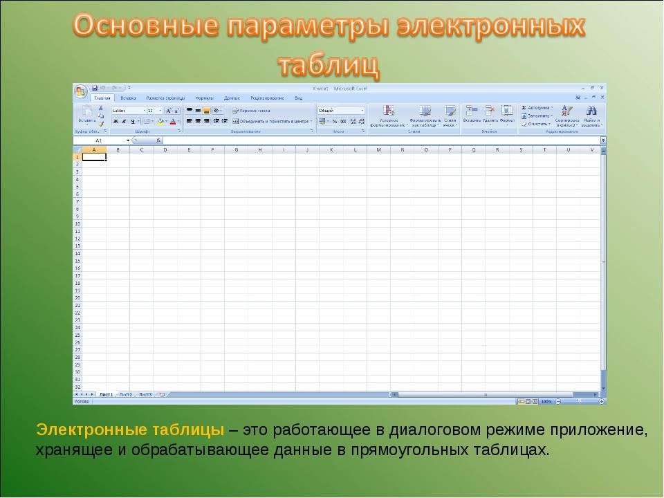 Электронные таблицы – это работающее в диалоговом режиме приложение, хранящее...