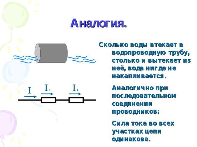 Аналогия. Сколько воды втекает в водопроводную трубу, столько и вытекает из н...
