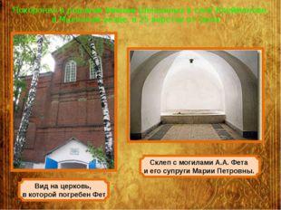 Похоронен в родовом имении Шеншиных в селе Клейменове, в Мценском уезде, в 25