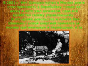 В 1881 г. Фет-Шеншин купил в Москве дом и стал приезжать в Воробьёвку только