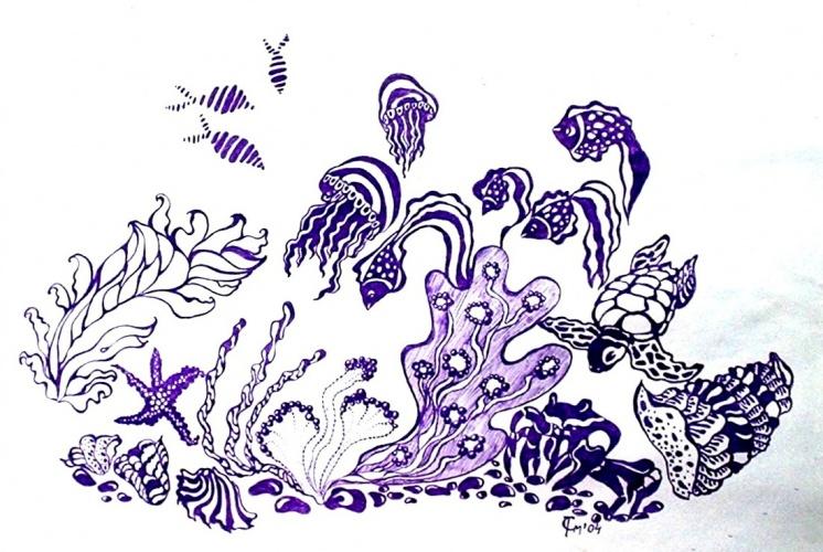 Морская композиция рисунок