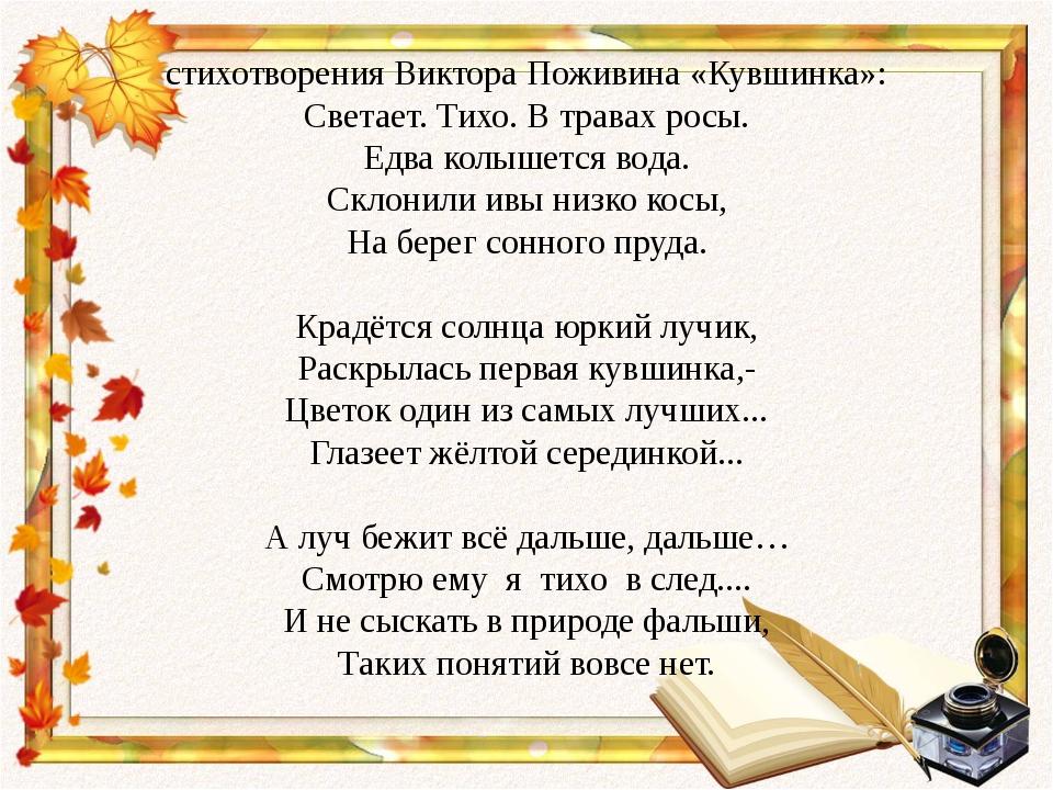 стихотворения Виктора Поживина «Кувшинка»: Светает. Тихо. В травах росы. Едва...