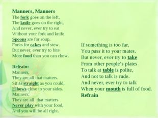 Manners, Manners The fork goes on the left, The knife goes on the right, And