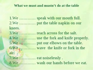 What we must and mustn't do at the table 1.We ………… speak with our mouth full.
