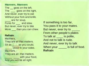 Manners, Manners The __ goes on the left, The ___ goes on the right, And neve