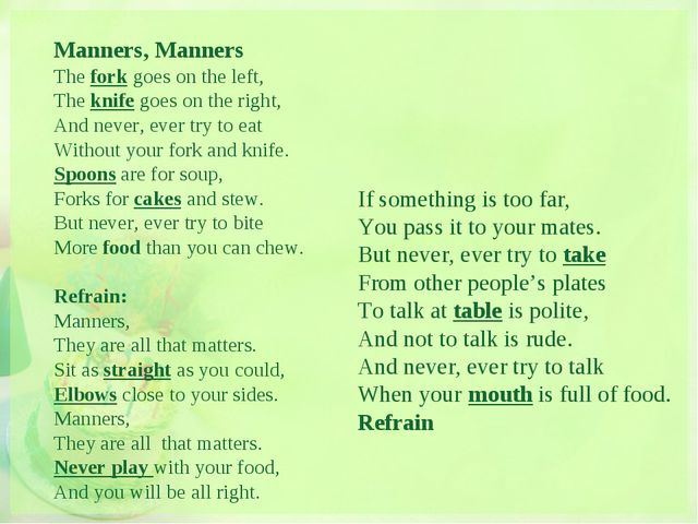 Manners, Manners The fork goes on the left, The knife goes on the right, And...