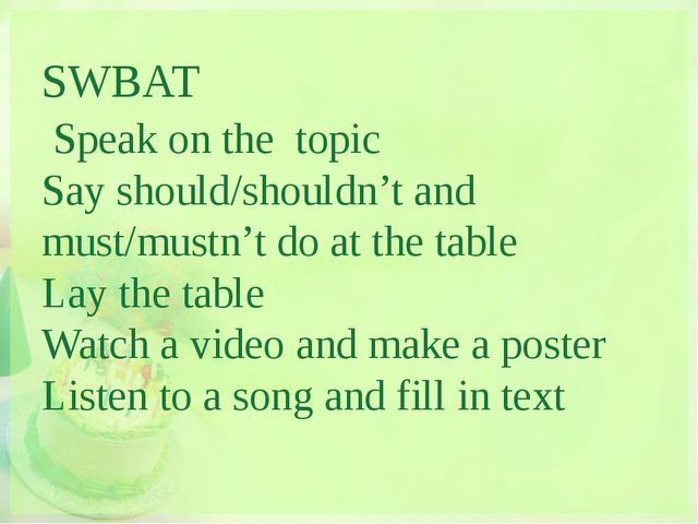 SWBAT Speak on the topic Say should/shouldn't and must/mustn't do at the tab...