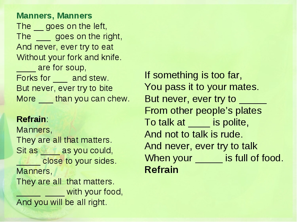 Manners, Manners The __ goes on the left, The ___ goes on the right, And neve...