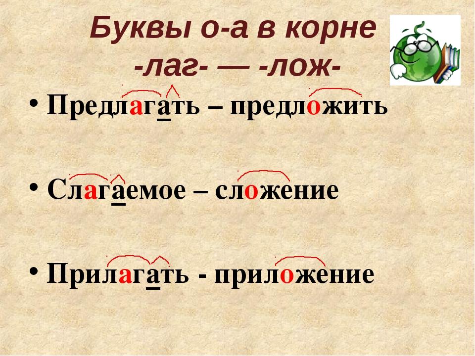 Буквы о-а в корне -лаг- ― -лож- Предлагать – предложить Слагаемое – сложение...