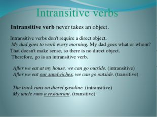 Intransitive verbs Intransitive verb never takes an object. Intransitive verb