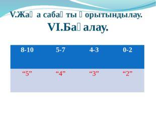 Оқулықпен жұмыс: №31, №36 V.Жаңа сабақты қорытындылау. VI.Бағалау. 8-10 5-7