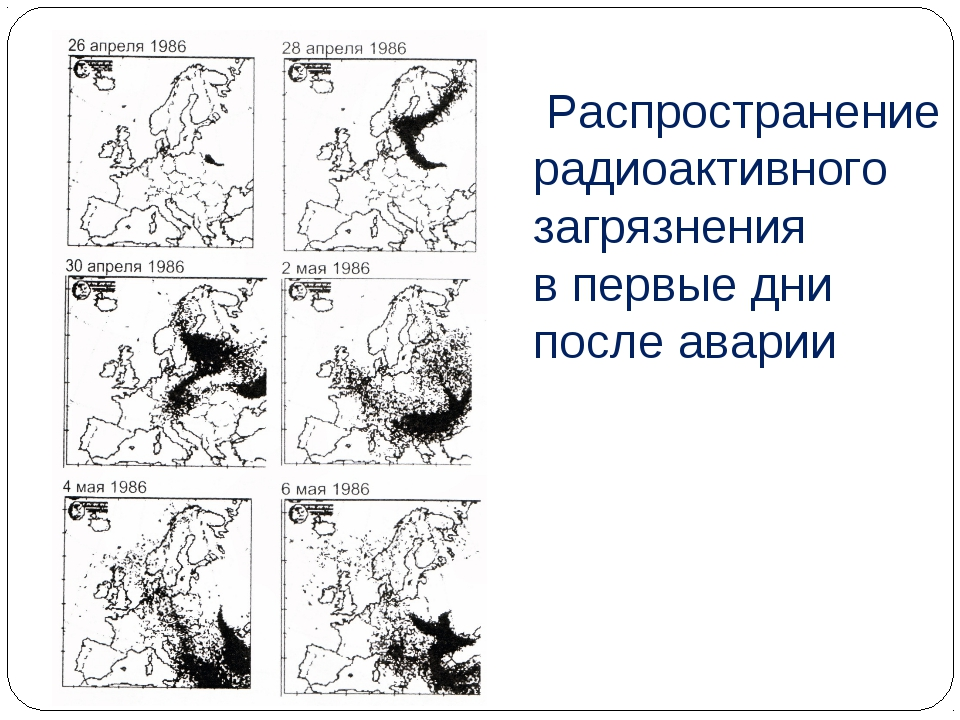 Распространение радиоактивного загрязнения в первые дни после аварии