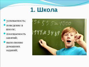 1. Школа успеваемость; поведение в школе; посещаемость занятий; выполнение до