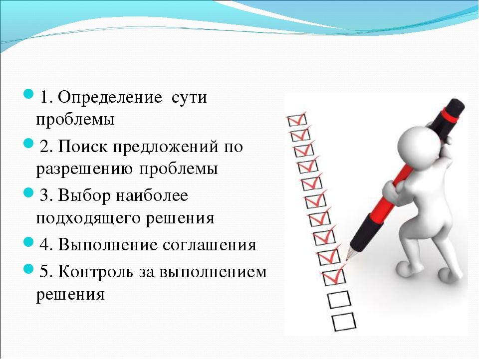 1. Определение сути проблемы 2. Поиск предложений по разрешению проблемы 3. В...