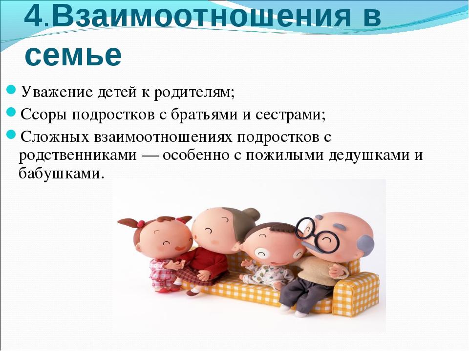 4.Взаимоотношения в семье Уважение детей к родителям; Ссоры подростков с брат...