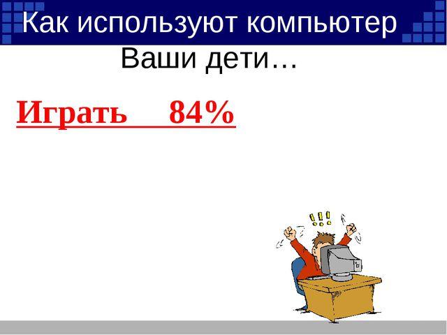 Играть 84% Слушать музыку 34% Общаться в интернете 28% Работать 22% Как испол...