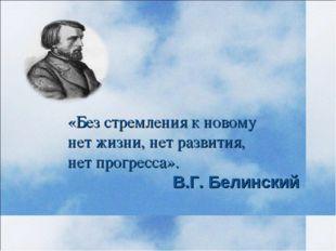 «Без стремления к новому нет жизни, нет развития, нет прогресса». В.Г. Белинс