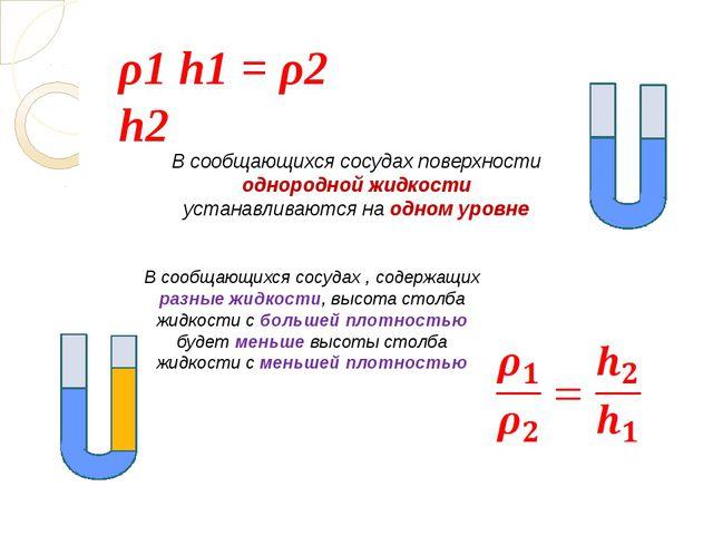 ρ1 h1 = ρ2 h2 В сообщающихся сосудах поверхности однородной жидкости устанав...
