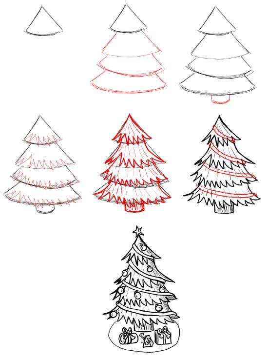 Как нарисовать Новогоднюю ёлку