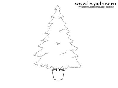 Как нарисовать новогоднюю елку поэтапно