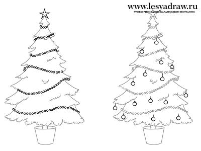 Как нарисовать новогоднюю елку карандашом поэтапно
