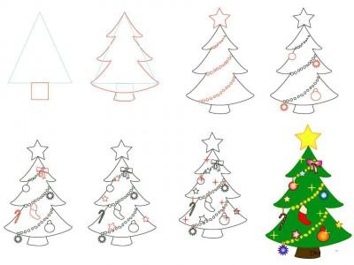 Как рисовать Новогоднюю елку карандашом поэтапно
