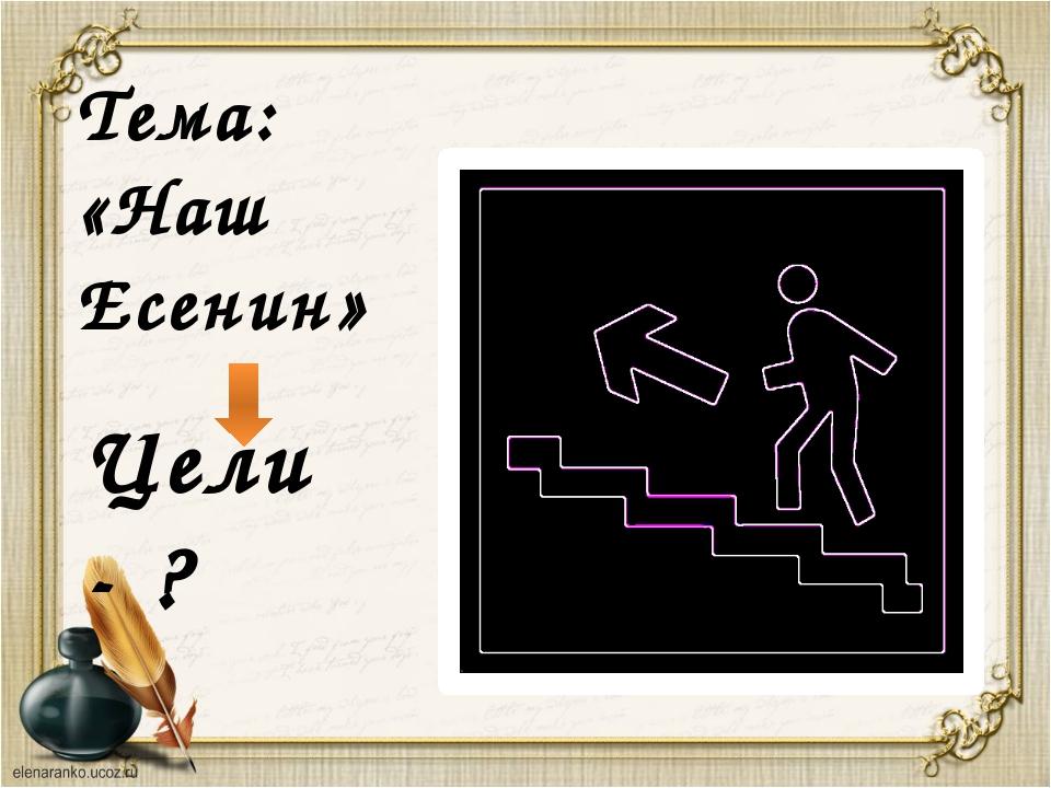 Тема: «Наш Есенин» Цели - ?