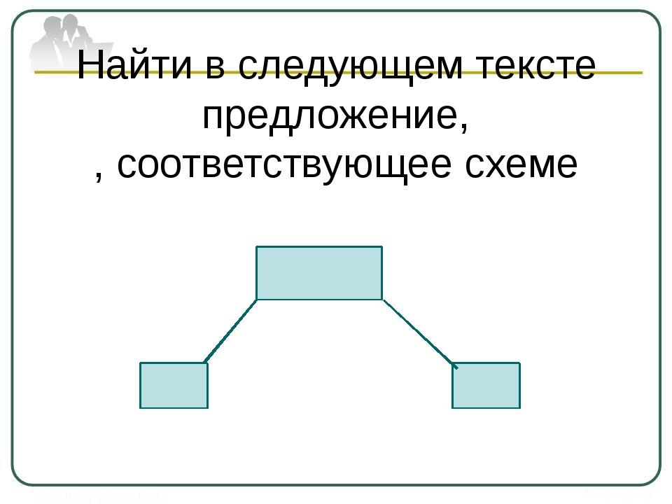 Найти в следующем тексте предложение, , соответствующее схеме