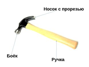 Боёк Ручка Носок с прорезью Части молотка: ударная(боёк), носок (бывает с про