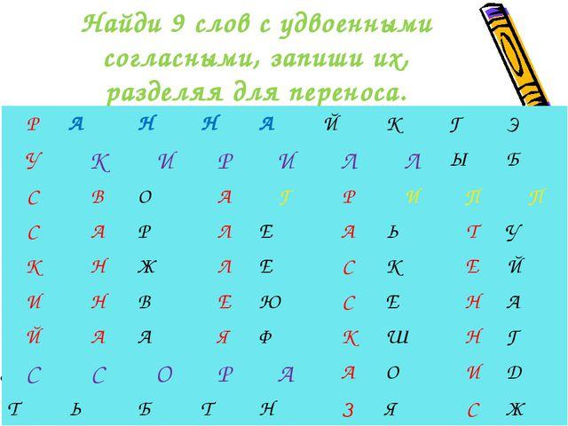 Найди 9 слов с удвоенными согласными, запиши их, разделяя для переноса. РАН...