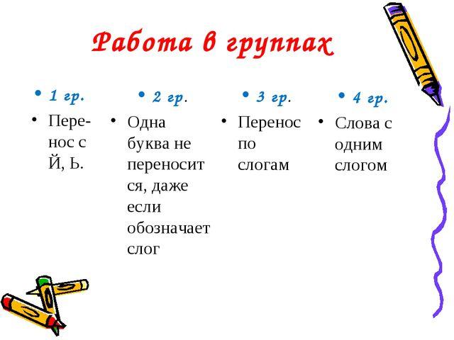 Работа в группах 1 гр. Пере-нос с Й, Ь. 2 гр. Одна буква не переносится, даже...