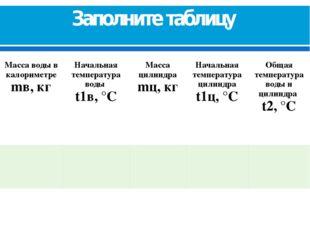 Заполните таблицу Масса воды в калориметре mв, кг Начальная температураводы t