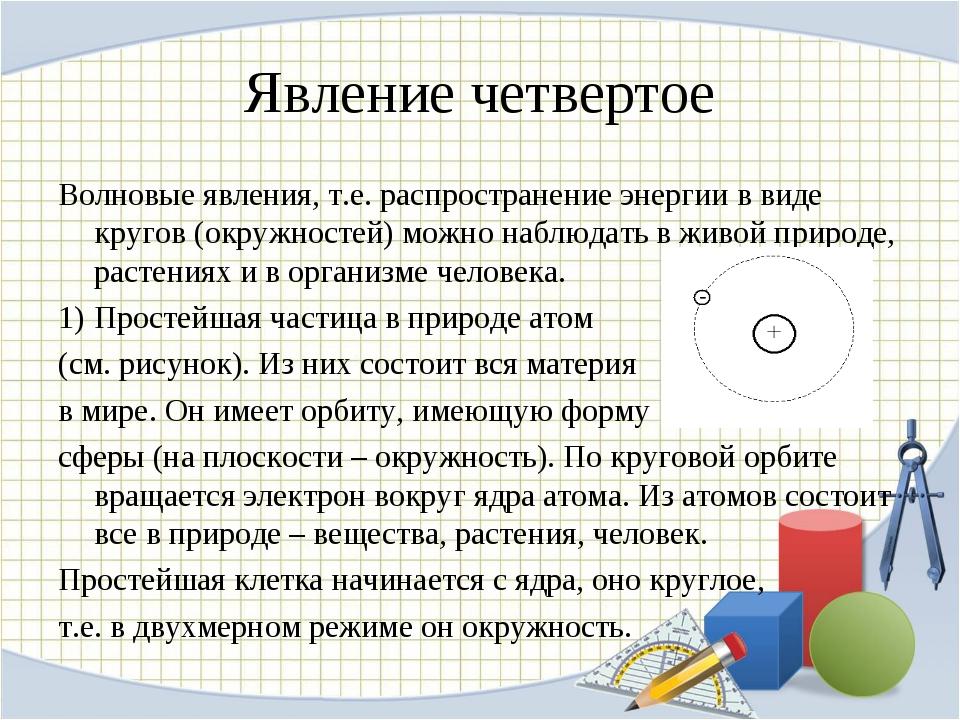 Явление четвертое Волновые явления, т.е. распространение энергии в виде круго...