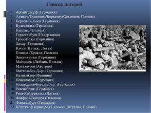 Список лагерей Арбайтсдорф (Германия) Аушвиц/Освенцим/Биркенау(Освенцим, Поль