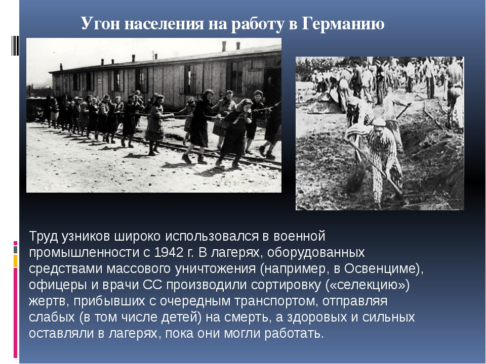 Угон населения на работу в Германию Труд узников широко использовался в военн...