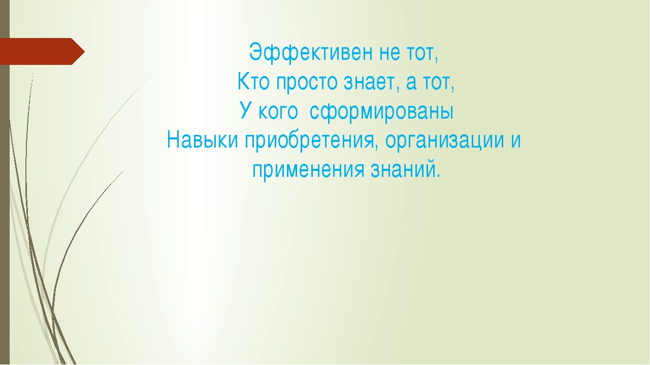 Эффективен не тот, Кто просто знает, а тот, У кого сформированы Навыки приобр...