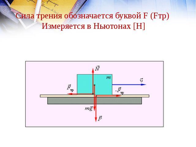Сила трения обозначается буквой F (Fтр) Измеряется в Ньютонах [H]