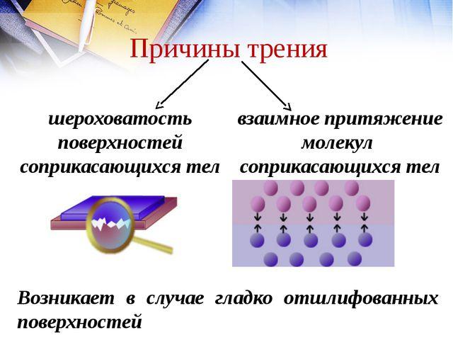 шероховатость поверхностей соприкасающихся тел взаимное притяжение молекул со...