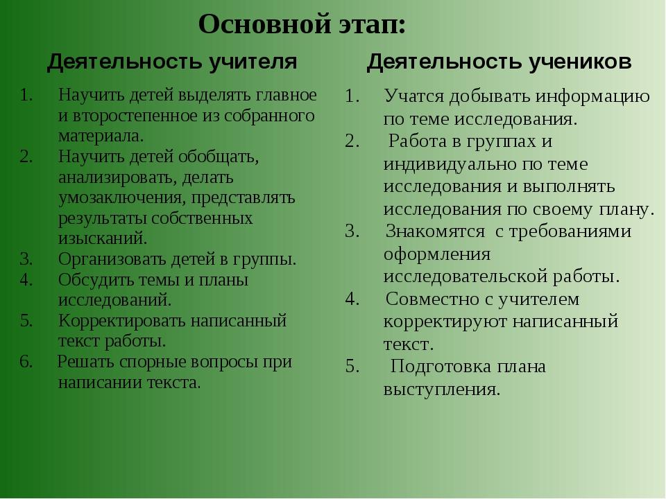 Основной этап: Деятельность учителя Деятельность учеников Научить детей выде...