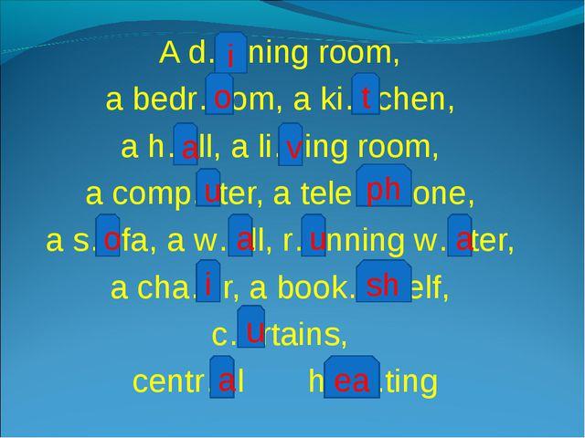 A d….ning room, a bedr…om, a ki…chen, a h…ll, a li…ing room, a comp...ter, a...