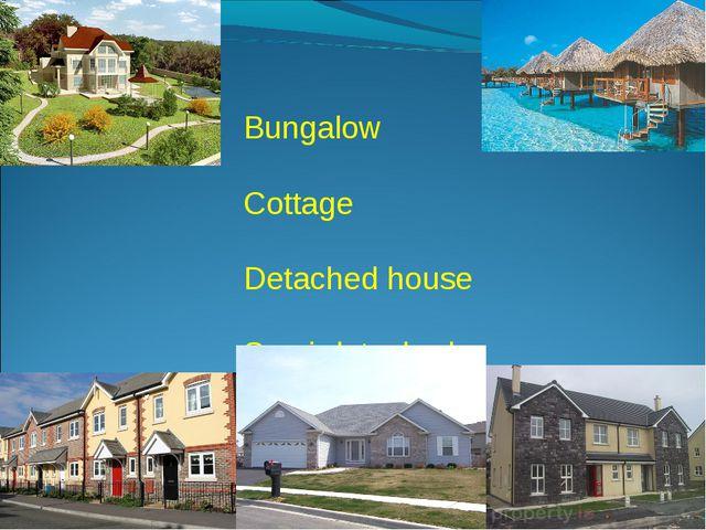 Bungalow Cottage Detached house Semi-detached house Terraced house