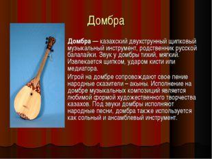 Домбра Домбра — казахский двухструнный щипковый музыкальный инструмент, родст