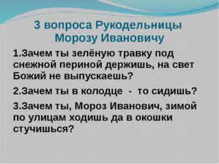 3 вопроса Рукодельницы Морозу Ивановичу 1.Зачем ты зелёную травку под снежной