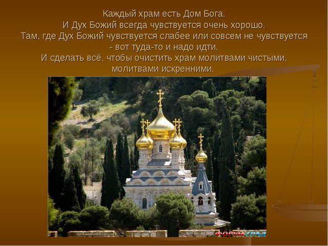 Каждый храм есть Дом Бога. И Дух Божий всегда чувствуется очень хорошо. Там,...