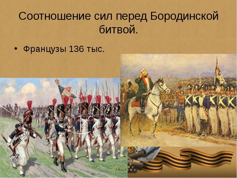 Соотношение сил перед Бородинской битвой. Французы 136 тыс. Русские 120 тыс.