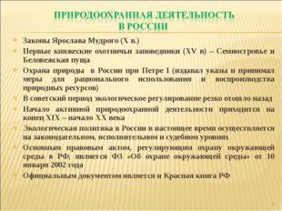 Законы Ярослава Мудрого (X в.) Первые княжеские охотничьи заповедники (XV в)