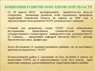 От 26 апреля 2013г. распоряжением правительства области утверждена Концепция